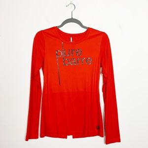 Pure Barre Long Sleeve Graphic Logo Top Red Small